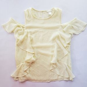 H&M Womens Cold Shoulder Blouse Yellow 8